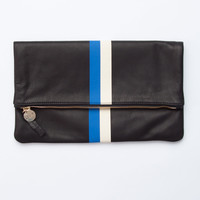 Black Velvet Leather with Royal Blue & Cream Stripes