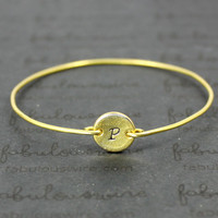 Gold Initial Bangle Bracelet, Personalized Gold Bracelet Jewelry, Customized stamped Monogram Bangle Bracelet, Gift Idea