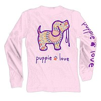 Long Sleeve Boho Pup Tee in Light Pink by Puppie Love