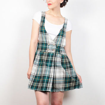 Vintage 80s Dress Preppy Hunter Green Plaid Micro Mini Dress Kawaii School Girl Uniform Pinafore Dress 1980s Dress Skater Dress S M Medium
