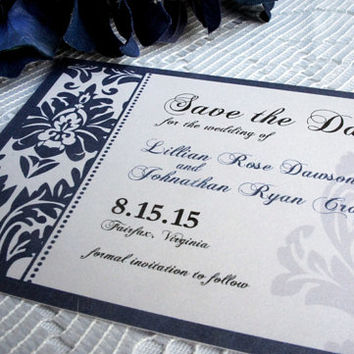 Elegant Save the Date Card - Navy Blue, Damask, Save the Date Cards, Save the Date, Formal, Classy, Blue Save the Dates - DEPOSIT