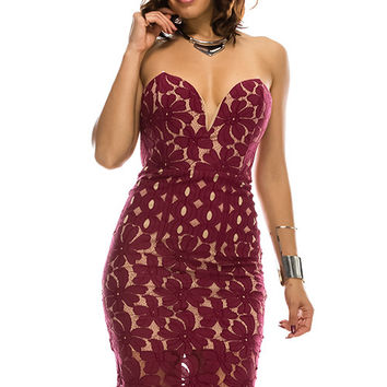 Solid Lace Tube Woven Thigh Length Party Dress 70363