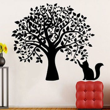 Tree Wall Decals Cat Kitten Animal Decal Vinyl Sticker Children Nursery C505