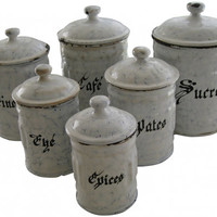 French Enamelware Blue White Canisters 1930s Set