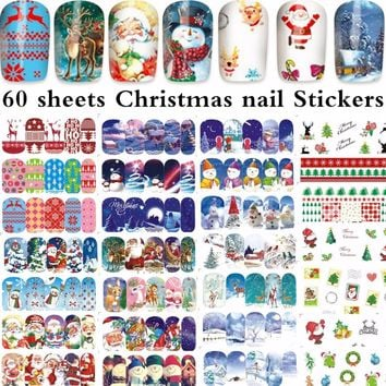 60 sheets mixed design Christmas water decal nail art nail sticker slider tattoo full Cover Santa Claus snowman xmas Decals 1188