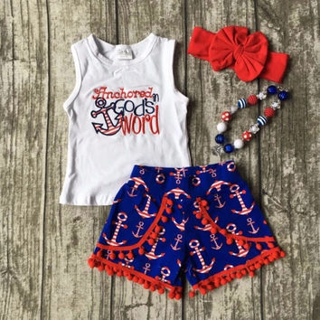 Anchored in God's word pom pom outfit