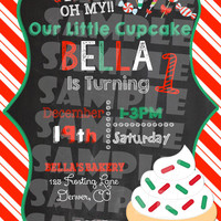 CHRISTMAS CUPCAKE INVITATION - Little Cupcake Birthday Invite - Christmas Birthday - First Birthday Chalkboard - Winter Birthday Candy