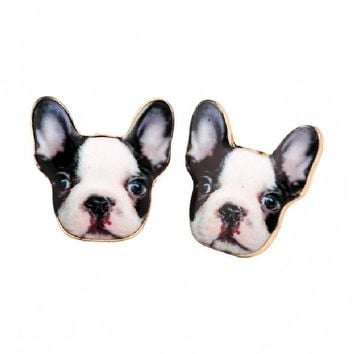 Jisensp New Arrival Enameled Bulldog Stud Earrings French Pitbull Earring Dog Animal Pets Lovers Gift pendientes mujer OED048