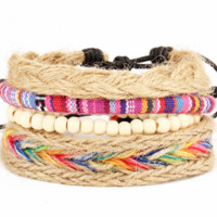 Geometric Multicolored Nepal Handmade Multilayer Weaving Ethnic Wind Bracelet Adjustable Friendship Bracelet
