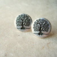 Tree of Life Earrings. Silver Stud Earrings. Norse Mythology Yggdrasil Earrings Silver Earrings. Love Happiness Fertility Immortality.