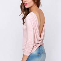 LULUS Exclusive Scoop de Ville Blush Pink Long Sleeve Top