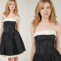 Vintage 80s Mini Dress Black & White POLKA DOT Strapless Party Dress S/M
