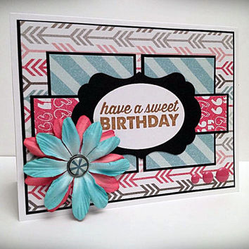 Stamped card, happy birthday, arrows and stripes, strawberry pink, aqua blue, enamel dots, silk flowers, birthday card, greeting card