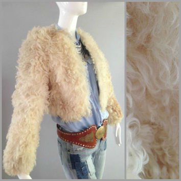ViNtAgE 70s MONGOLIAN LAMB Shaggy Curly real Fur bohemian coat Tibetan Hippie gypsy Festival Cropped Jacket Balero Long Shearling Cream S XS