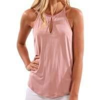 Pure Color Simple Spaghetti Straps Cut Out Tank Top