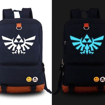 Hot Anime The Legend of Zelda Link Luminous Cosplay Backpack Canvas Student Schoolbag Unisex Travel Bags