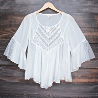 dreamy lace up peasant top in ivory