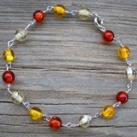 925 Sterling Silver Amber Bracelet 3 Colors of Amber Beads 6mm 925 Sterling Silver Wire 0.6mm 925 Sterling Silver Spring & Split Ring Length:20cm Handmade,brand New