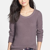 BP. Textured Cotton Crewneck Sweater (Juniors)