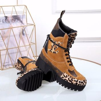 2020 Office New Arrivals LV Louis Vuitton Women Leather Wool Martens lace up zipper short Heels Matchmake Ankle Boot Shoes Boots Best quality