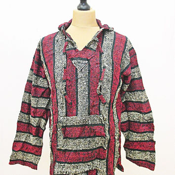 Vintage 90s Festival Mexican Striped Red Baja Hippy Jumper Hoody Jacket Large