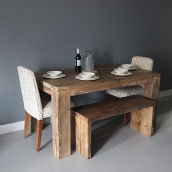 Square Dining Table Rustic Design Parsons Style Reclaimed