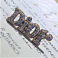 Copy of Dior full letter rhinestone shining earrings
