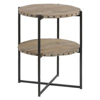 Kamau Rustic Reclaimed Wood Round Accent Table with Shelf by Uttermost
