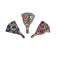 Aztec Print Headwrap Soft Wide Hair Wrap Boho Yoga Style (Set of 3)