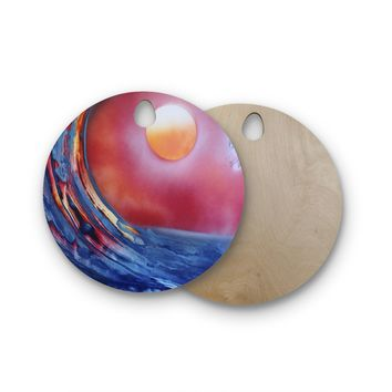 "Infinite Spray Art ""Ideal Barrel"" Blue Pink Round Wooden Cutting Board"