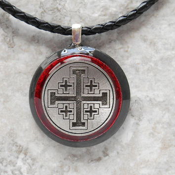 crusader cross necklace: red - mens necklace - leather cord - mens jewelry - boyfriend gift - unique gift - statement necklace