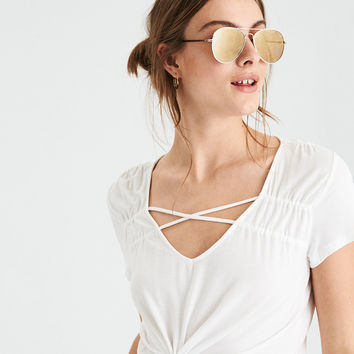 AE Soft & Sexy Cross Front V-Neck T-Shirt , Natural White