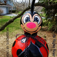 LADYBUG Birdhouse Gourd Art Designs by Sugarbear Originals ADoRABLE Just Cute as a BuG! CUSTOM Order Available