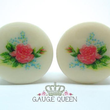 "Chintz Rose Plugs / Gauges. 4g /5mm, 2g /6.5mm, 0g /8mm, 00g /10mm, 1/2"" /12.5mm, 9/16"" /14mm, 5/8"" /16mm, 3/4"" /19mm, 7/8"" /22mm, 1"" /25mm"