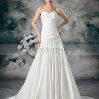 Sweetheart Satin A Line Wedding Dress with Surplice Bodice and Beaded Applique