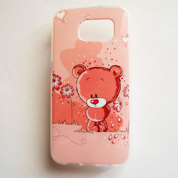 Samsung Galaxy S6 Pink Teddy Bear Case Soft Plastic Galaxy S6 Back Cute Hearts Love Samsung S6 Cover Funny S6