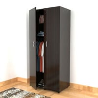 Bedroom Wardrobe Armoire Cabinet in Dark Brown Espresso Finish with Clothes Hanging Bar