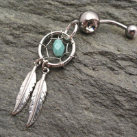Turquoise Dream Catcher Belly Button Jewelry Silver Feathers Belly Ring
