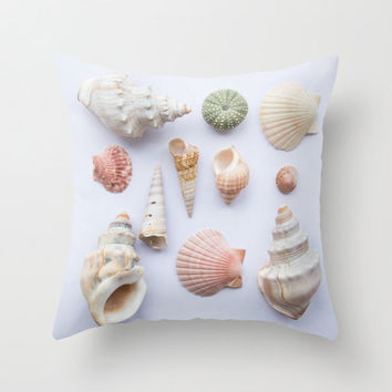 Sea shells decorative pillow, beach cottage seaside photo home decor cushion, summer beach house soft furnishing