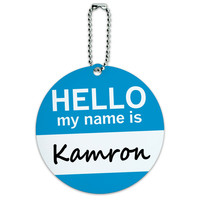 Kamron Hello My Name Is Round ID Card Luggage Tag