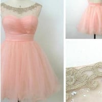 Ball Gown Round Neckline Pink Mini Homecoming Dress, Short Pink Prom Dress, Short Pink Formal Dress, Graduation Dress
