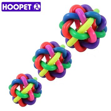 HOOPET Pet Puppy Dog Cat Training Palying Toy Chewing Colorful Soft Rubber Round Ball With Bells