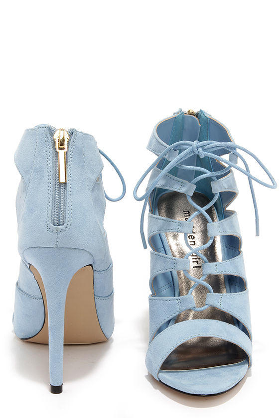 Madden Girl Raceyyy Baby Blue Suede Lace-Up Heels 0ec3cc18dac2