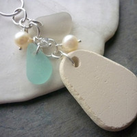 Sea Glass Jewelry Necklace Pottery  Beach Glass Cluster Purple Pendant Sterling