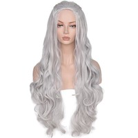 Synthetic Wig Wavy Long Grey Cosplay