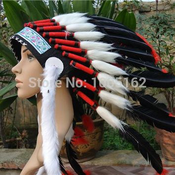 Chief Indian feather Headdress Native American headdress indian feather costumes War Bonnet Hat indian headdress of black color