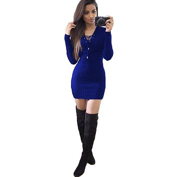 Blue Long Sleeve Hip Dress