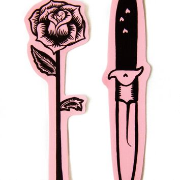 Pink Rose and Knife Vinyl Sticker Set