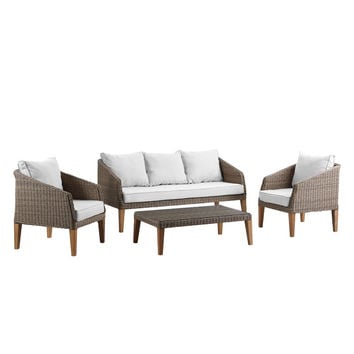 Brayden Studio Hypes 4 Piece Deep Seating Group with Natural Cushion & Reviews | Wayfair
