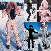 Warm Skisuit Winter Jumpsuit With Hoodie